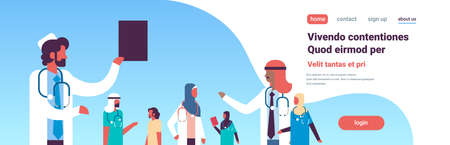 group arabic doctors stethoscope healthcare conference concept different arab medical workers blue background flat portrait copy space horizontal banner vector illustration