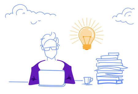 businessman working process laptop generating new creative idea light lamp innovation concept horizontal sketch doodle vector illustration