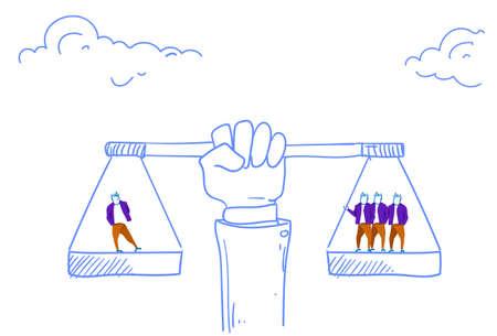 Menschliche Hand, die das Gleichgewicht hält, skaliert die geschäftliche Bedeutung wertvolles menschliches Vermögen Konzeptskizze doodle horizontale Vektorillustration