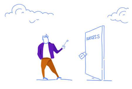 businessman holding key unlock padlock closed door success access concept open new opportunities horizontal sketch doodle vector illustration