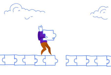 businessman pave way man making puzzle path jigsaw parts problem solution concept horizontal sketch doodle vector illustration