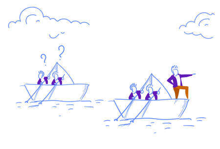 Businessmen team swimming paper boat leading business people teamwork question marks follow leadership concept successful direction sketch doodle vector illustration