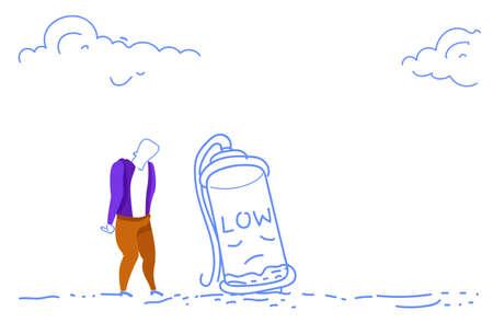 businessman overloaded tired overworked low battery energy hardworking process horizontal sketch doodle vector illustration Illustration