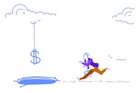 Scared businessman bait dollar sign falling ice hole credit debt finance crisis concept man running money growth sketch doodle horizontal vector illustration