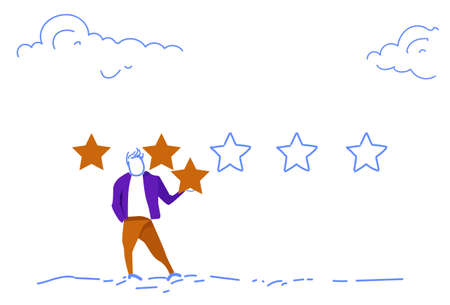 three star rating businessman giving feedback concept horizontal sketch doodle vector illustration Stock Illustratie