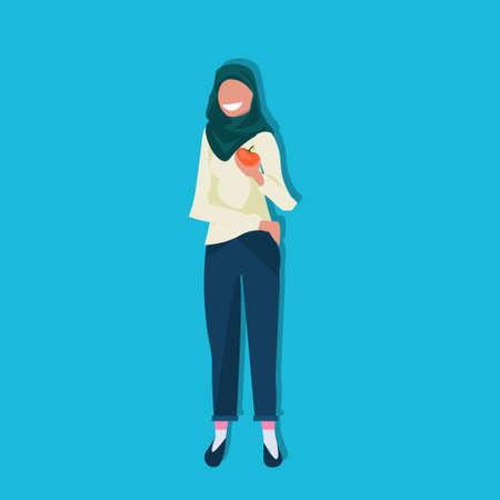 arab woman holding apple fruit healthy lifestyle concept arabic female cartoon character flat full length blue background vector illustration