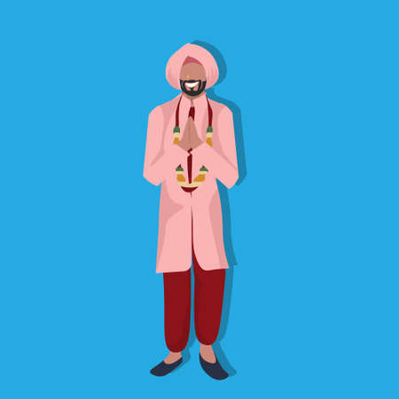indian man standing praying in national traditional clothes male cartoon character full length flat vector illustration