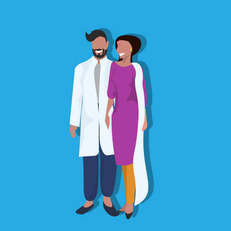 indian woman man couple bindi standing in national traditional clothes female male cartoon character full length flat vector illustration