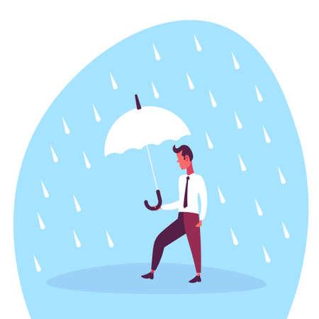 Businessman holding umbrella during rain finance protected concept flat cartoon character vector illustration