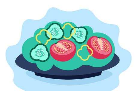 salad fresh vegetables in bowl pepper tomato cucumber healthy lifestyle concept flat horizontal vector illustration