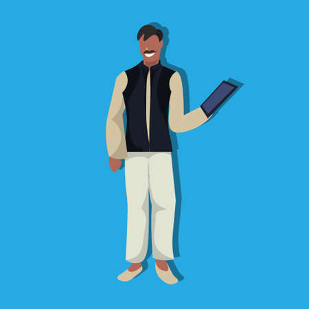 indian businessman using tablet national traditional clothes male cartoon character full length flat vector illustration Illustration