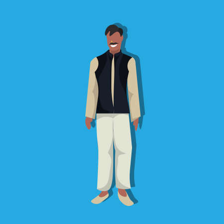 indian man standing in national traditional clothes male cartoon character full length flat vector illustration