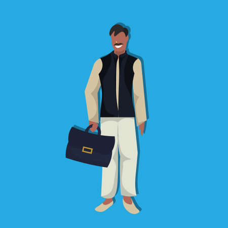 indian businessman holding suitcase national traditional clothes male cartoon character full length flat vector illustration Illustration