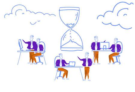 business people hardworking deadline time management concept sand watch icon teamwork brainstorming process horizontal sketch doodle vector illustration