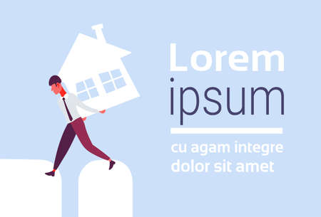 Overburdened business man carrying house on back crisis loan debt from bank finance problem solution concept horizontal flat cartoon character copy space vector illustration
