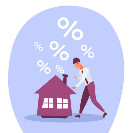 businessman mortgage house credit percent crisis loan debt from bank finance problem solution concept flat cartoon character vector illustration