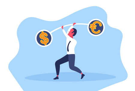 Businessman holding weights balance scales currency comparison dollar euro banking finance business concept stability equality money horizontal flat vector illustration
