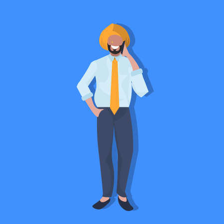 indian businessman phone calling national traditional clothes male cartoon character full length flat vector illustration