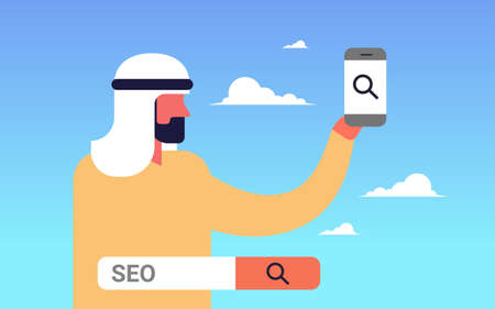 Seo search engine optimization arabic man using smartphone internet searching concept process flat horizontal vector illustration Illustration