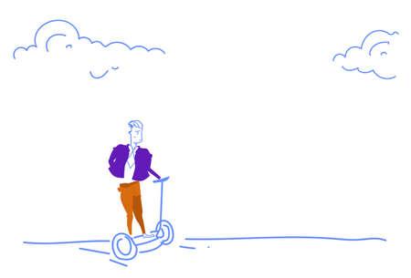 businessman riding gyro scooter business innovation concept gyroboard electric transport sketch doodle horizontal vector illustration Illustration