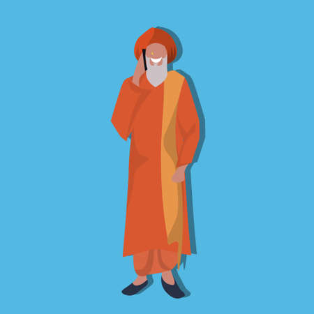 old indian man phone calling standing national traditional clothes male guru cartoon character full length flat vector illustration Illustration