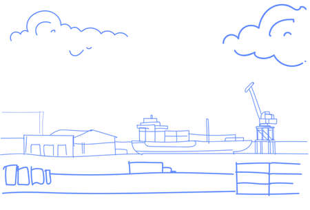 Industrial sea port cargo freight ship crane water delivery transportation concept warehouse shipping dock sketch doodle horizontal vector illustration