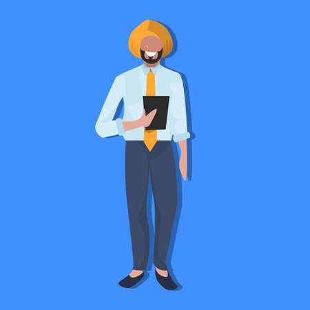 indian businessman using tablet national traditional clothes male cartoon character full length flat vector illustration Stock Photo