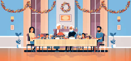 happy thanksgiving day multi generation family sitting table celebrating thanks day holiday traditional dinner concept autumn feast horizontal flat vector illustration