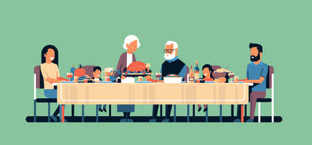 happy thanksgiving day multi generation family sitting table celebrating thanks day holiday traditional dinner concept autumn feast green background horizontal flat vector illustration