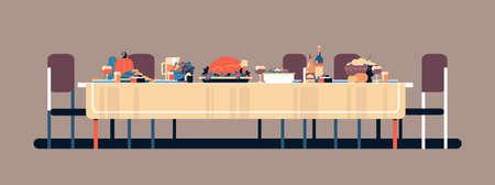 Celebrazione del Ringraziamento tavolo da pranzo tradizionale cibo gustoso zucca tacchino bevande impostazione concetto nessuno banner orizzontale piatto illustrazione vettoriale