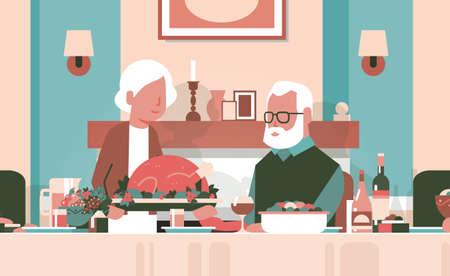 happy thanksgiving elderly couple sitting table celebrating thanks day holiday traditional turkey dinner concept grandmother grandfather cartoon seniors autumn feast horizontal flat vector illustration