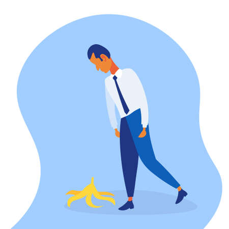 overworked business man stepping on banana skin peel work accident concept hard working process male cartoon character flat full length vector illustration