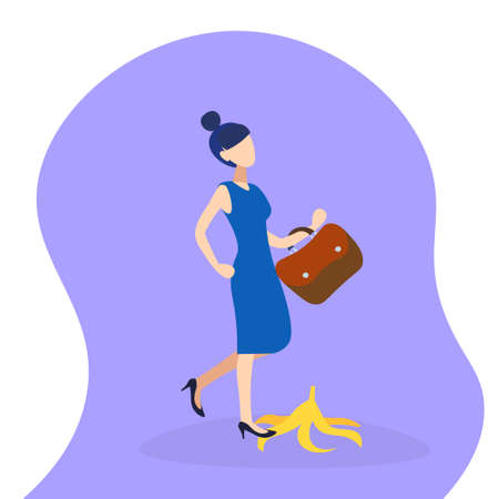 overworked business woman stepping on banana skin peel work accident concept hard working process female cartoon character flat full length vector illustration Illustration
