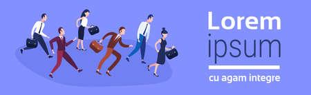 Grupo de gente de negocios corriendo equipo líder competencia hombres de negocios concepto de carrera de mujeres acechar proceso trabajador plano horizontal banner copia espacio vector ilustración