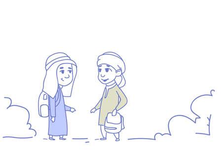 arab children girl boy couple small cartoon pupils friendship concept arabic students sketch doodle horizontal vector illustration