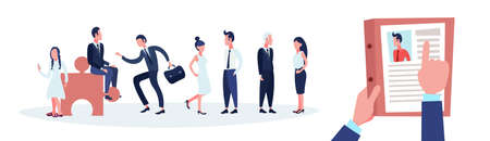 hr hand hold cv resume of businessman over group business people choose candidate for vacancy job position recruitment concept man woman cartoon character horizontal banner flat vector illustration