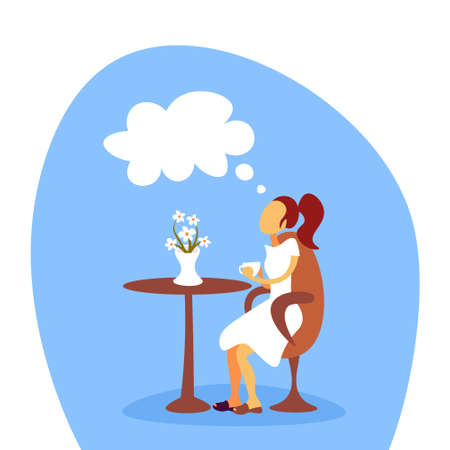 woman drinking coffee dreaming relaxing cafe female cartoon character flat full length vector illustration