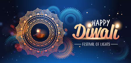 happy diwali traditional indian lights hindu festival celebration holiday concept flat greeting card template invitation horizontal copy space vector illustration  イラスト・ベクター素材