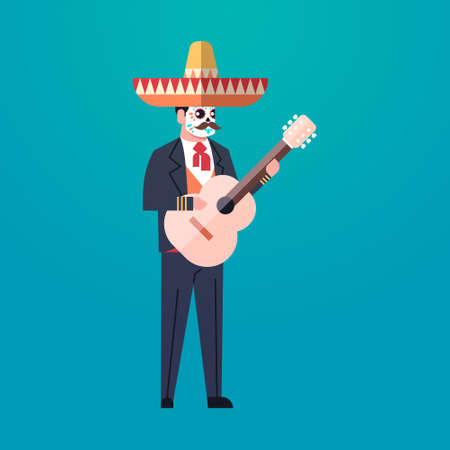 day of dead traditional mexican halloween man wearing traditional clothes playing guitar skeleton mask dia de los muertos holiday party male cartoon character full length flat vector illustration Illustration