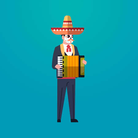 day of dead traditional mexican halloween man wearing traditional clothes playing accordion skeleton mask dia de los muertos holiday party male cartoon character full length flat vector illustration Illustration