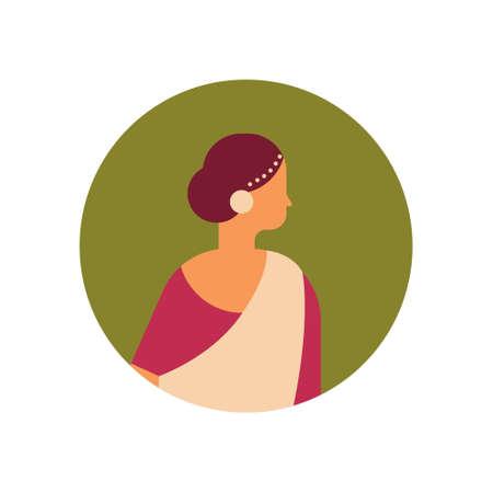 mujer india, cara, avatar, dama, llevando, nacional, tradicional, ropa, hindú, hembra, caricatura, carácter, retrato, aislado, plano, vector, ilustración