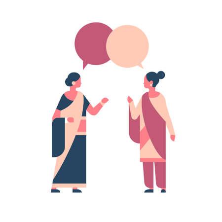 Mujeres indias con ropa tradicional nacional mujer hindú chat burbuja comunicación concepto personaje de dibujos animados femenino ilustración vectorial plana aislada de longitud completa