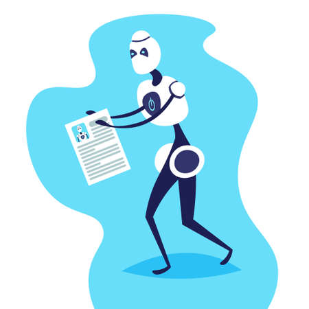 robot holding resume for job position artificial intelligence concept bot helper hiring manager choose candidate flat vector illustration
