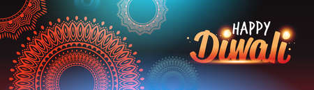 happy diwali traditional indian lights hindu festival celebration holiday concept flat greeting card template invitation horizontal banner copy space vector illustration Ilustração
