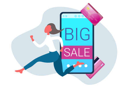 businesswoman running online shopping big sale concept smartphone screen internet mobile shop application business woman customer female cartoon character full length horizontal vector illustration
