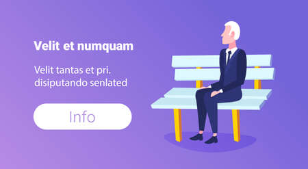 senior businessman sitting wooden bench elderly business man relax concept male cartoon character full length horizontal copy space flat vector illustration