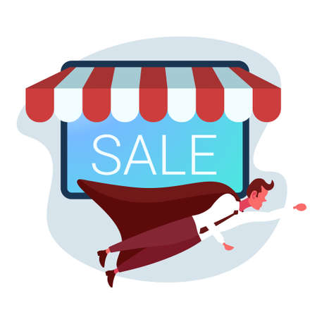business wearing super hero cape hurry up online shopping big sale concept smartphone screen mobile market application businessman customer male cartoon character full length vector illustration