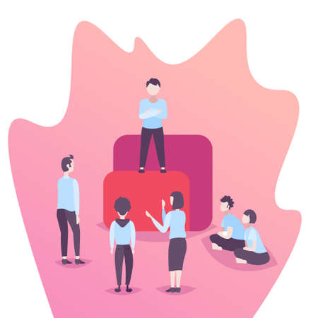team leader standing podium business people brainstorming leadership concept office workers working together successful strategy flat male female cartoon character vector illustration