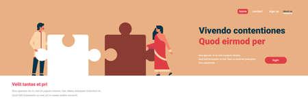 Indisch paar delen van puzzel samenbrengen hindoe man vrouw team werken concept oranje achtergrond horizontale banner platte kopie ruimte vectorillustratie