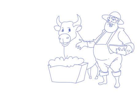 Farmer man breeding animals cow countryman agribusiness concept sketch doodle horizontal vector illustration Vetores